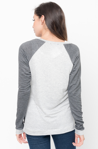 Shop for Charcoal Color Block Two Tone Pullover Crew Neck @34$ On Caralase.com