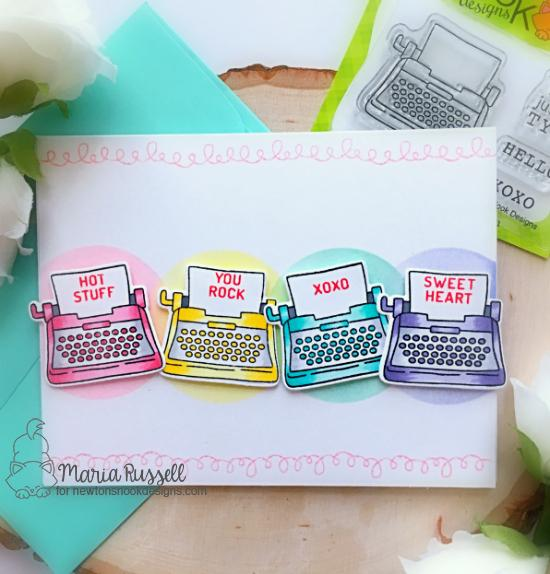Typewriter Valentine Card by Maria Russell | My Type and Candy Heart Stamp Sets by Newton's Nook Designs #newtonsnook #handmade