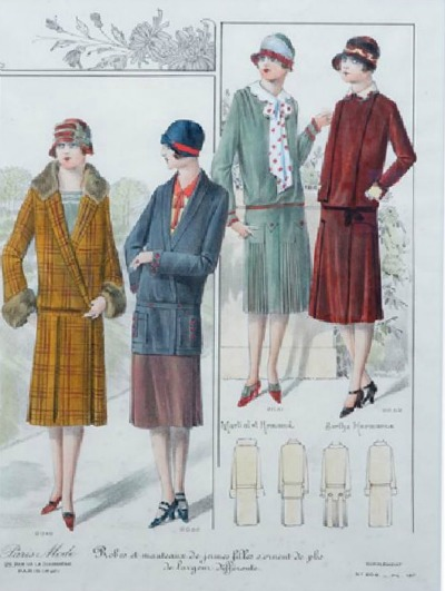 Illustration of early 1900's women's fashions patterns from Paris Mode Pattern