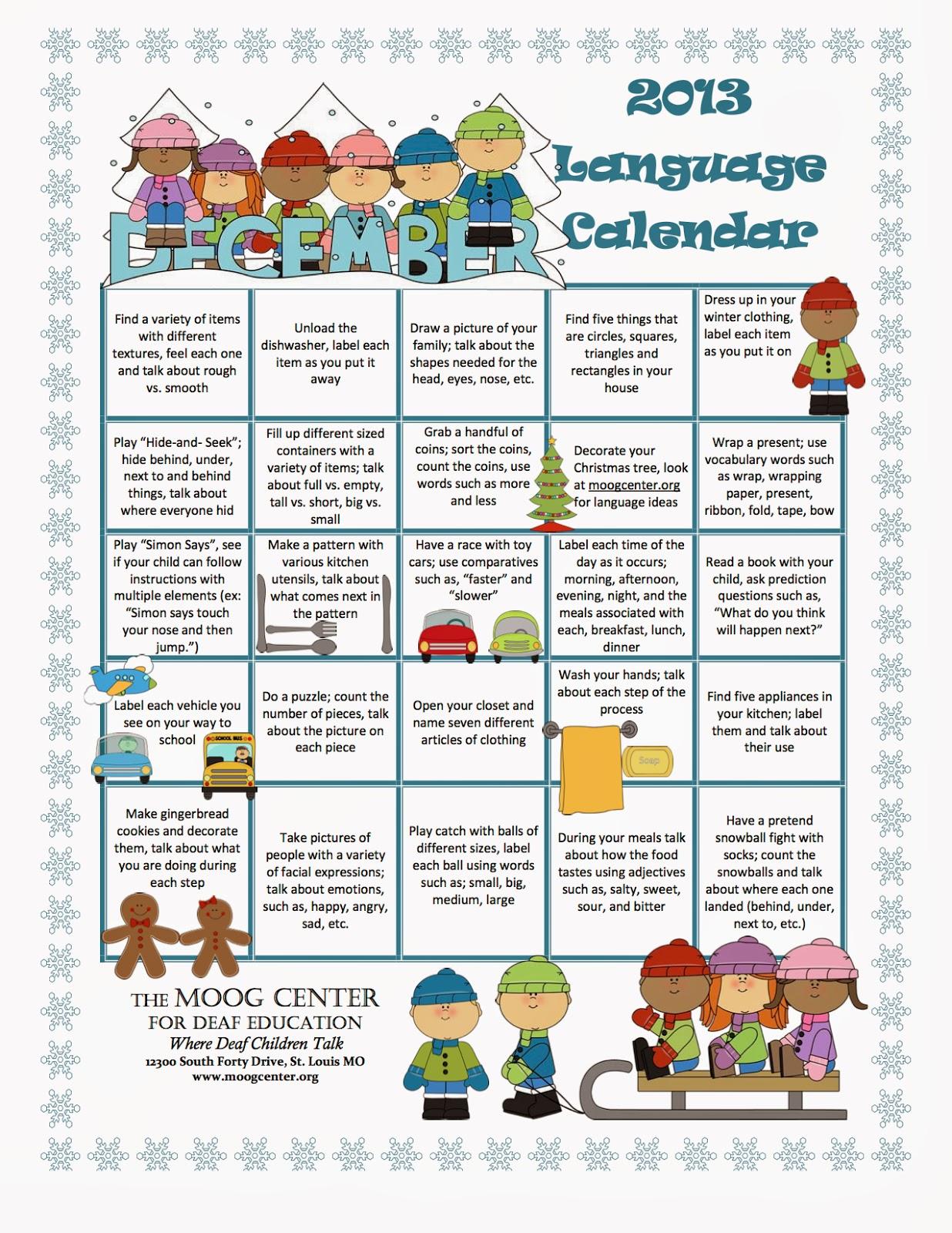 Hearsaylw December Listening And Spoken Language Calendar