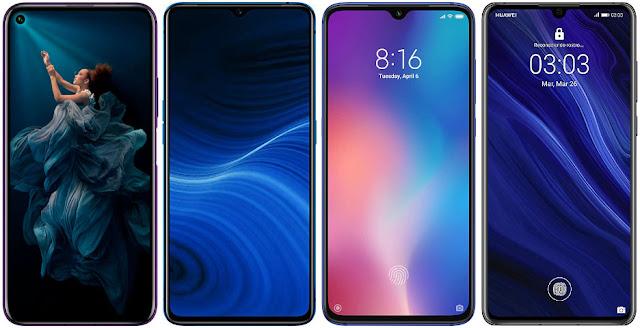 Honor 20 Pro 256 GB vs Realme X2 Pro 128 GB vs Xiaomi Mi 9 128 GB vs Huawei P30