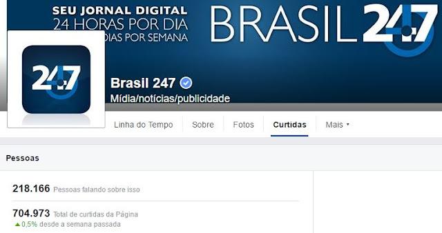 Dados sobre rede social do blog de esquerda Brasil 247