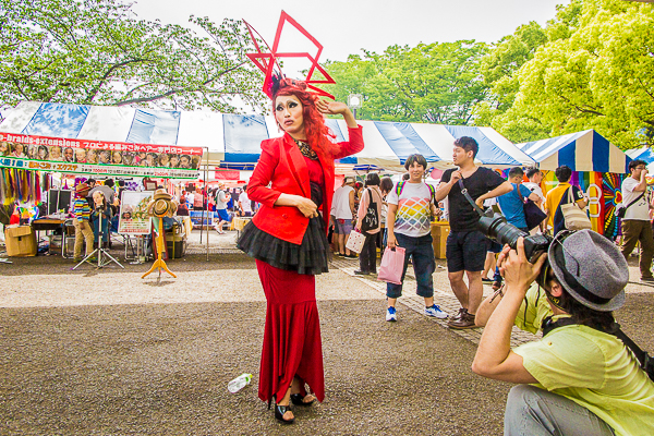 A drag queen strikes a pose at Tokyo Rainbow Pride 2016