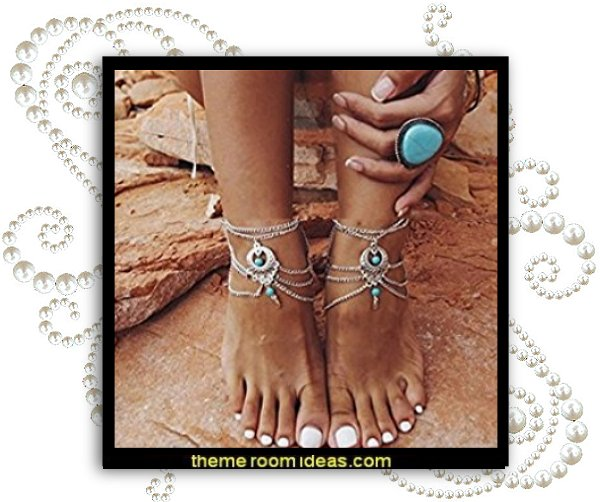 2 Pcs Barefoot Sandals Beach Foot Jewelry Anklet Chain