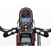 Bowflex Max Trainer M5 monitor with blue backlit display, image