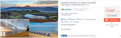 Offre promotionnelle voyage en demi pension Réunion 1338 euros
