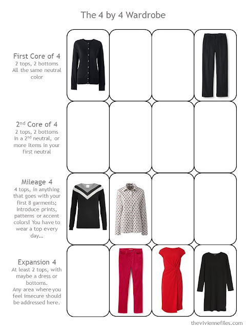 7 Pieces of a 4 by 4 Wardrobe in a 4 by 4 Template
