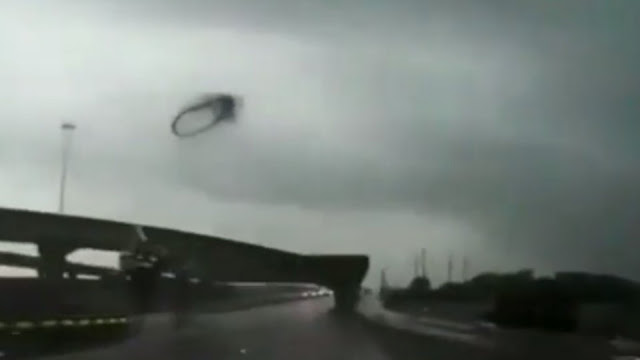 Black Ring Appeared Above A Busy Highway