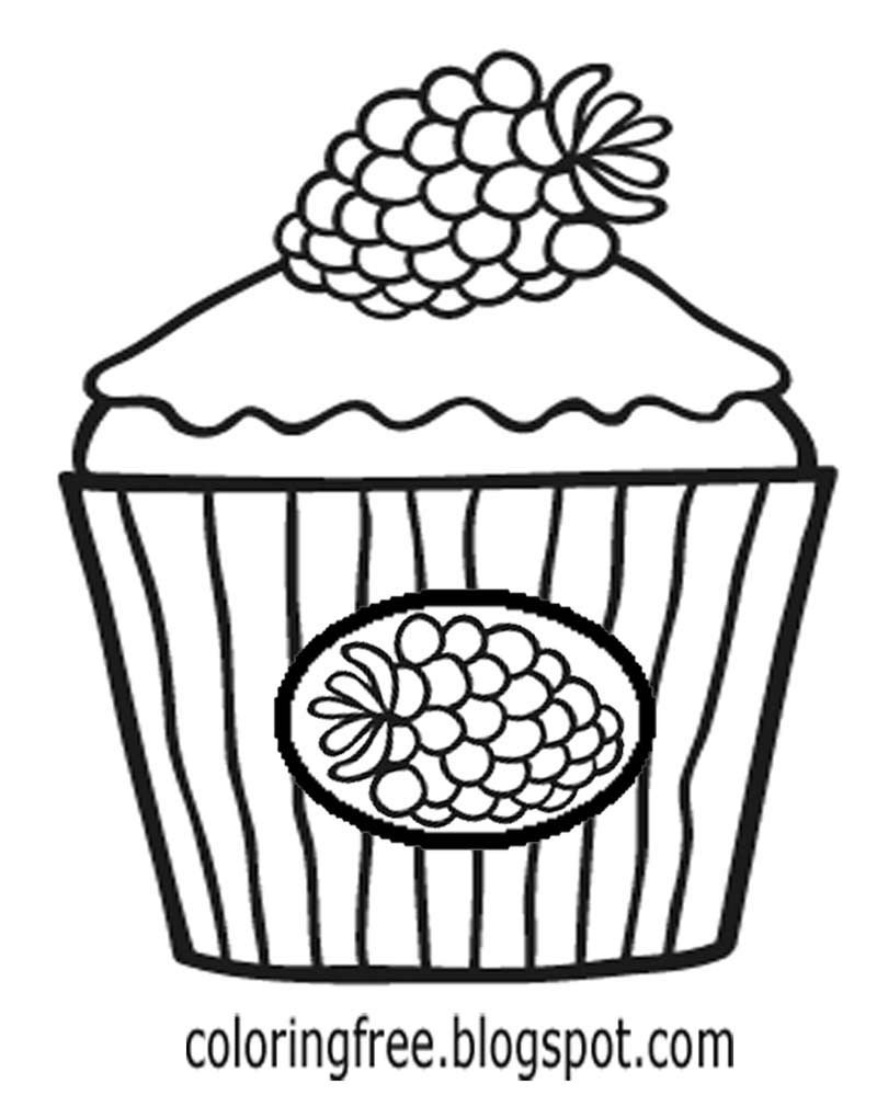 How To Draw A Cake Black Raspberry Cupcake Coloring Easy Drawing Ideas For Teenage Girls Party