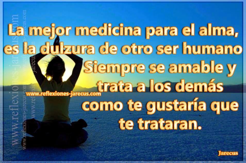 La mejor medicina para el alma, es la dulzura de otro ser humano…Siempre se amable y trata a los demás como te gustaría que te trataran.