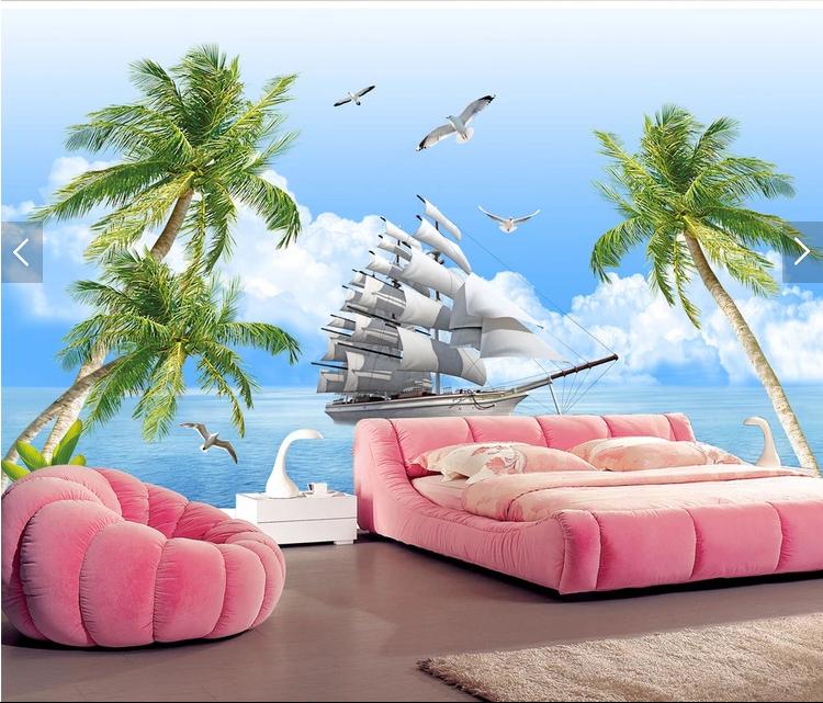 Tranh dán tường phong cảnh Thuận buồm xuôi gió trên biển