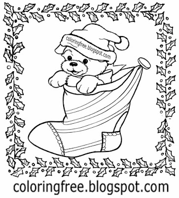 Holly leaf edge cute Christmas coloring pages puppy bog Xmas stocking Santa Claus hat drawing image