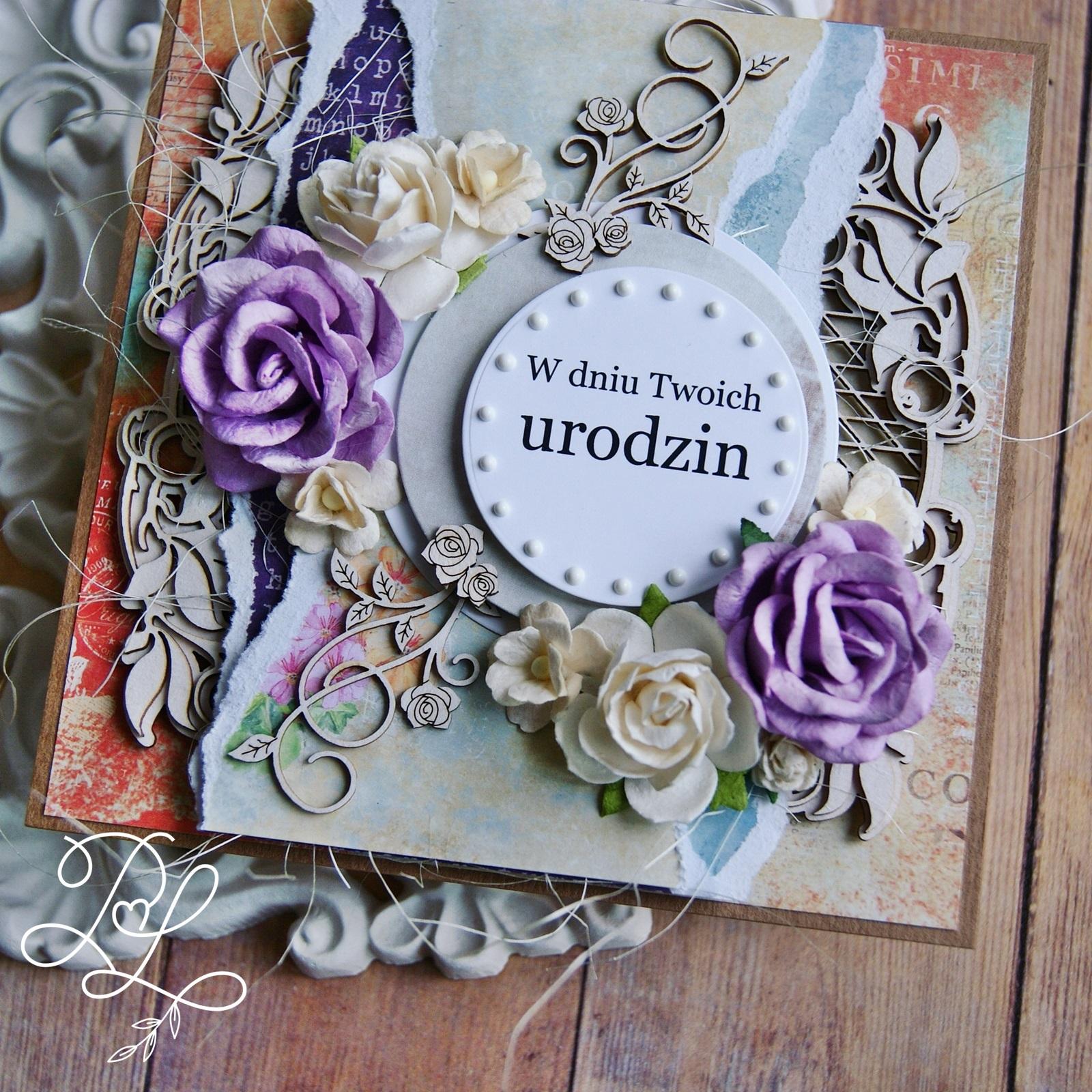 Warstwowa, piękna kartka urodzinowa w stylu vintage - Papierowe Love - sklep papierniczy i pracownia rękodzieła w Siechnicach.