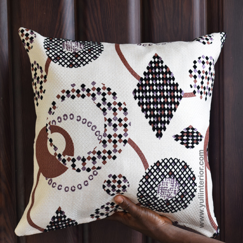 Cream Geometric Throw Pillow