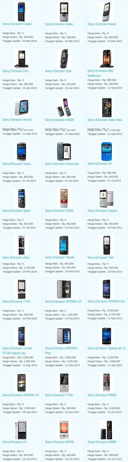 Daftar Harga Hp Terbaru Sony Ericsson Juli 2016