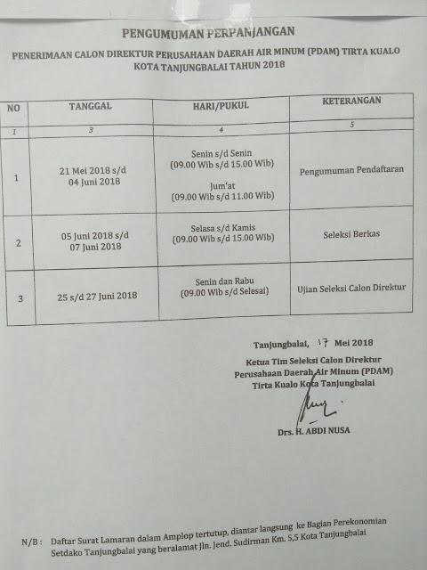 """Surat masa pendaftaran calon """"dewa air"""" Kota Tanjungbalai diperpanjang hingga tanggal 4 Juni 2018 mendatang."""