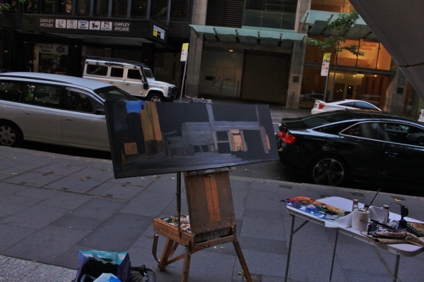 plein air oil Painting  of Panorama of Castlereagh st, from Hunter st to Martin Place' by industrial heritage artist Jane Bennett