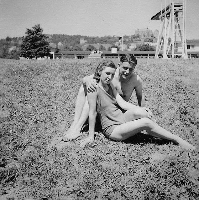 Off-duty Wehrmacht soldier spending a day at the pool with his girlfriend.