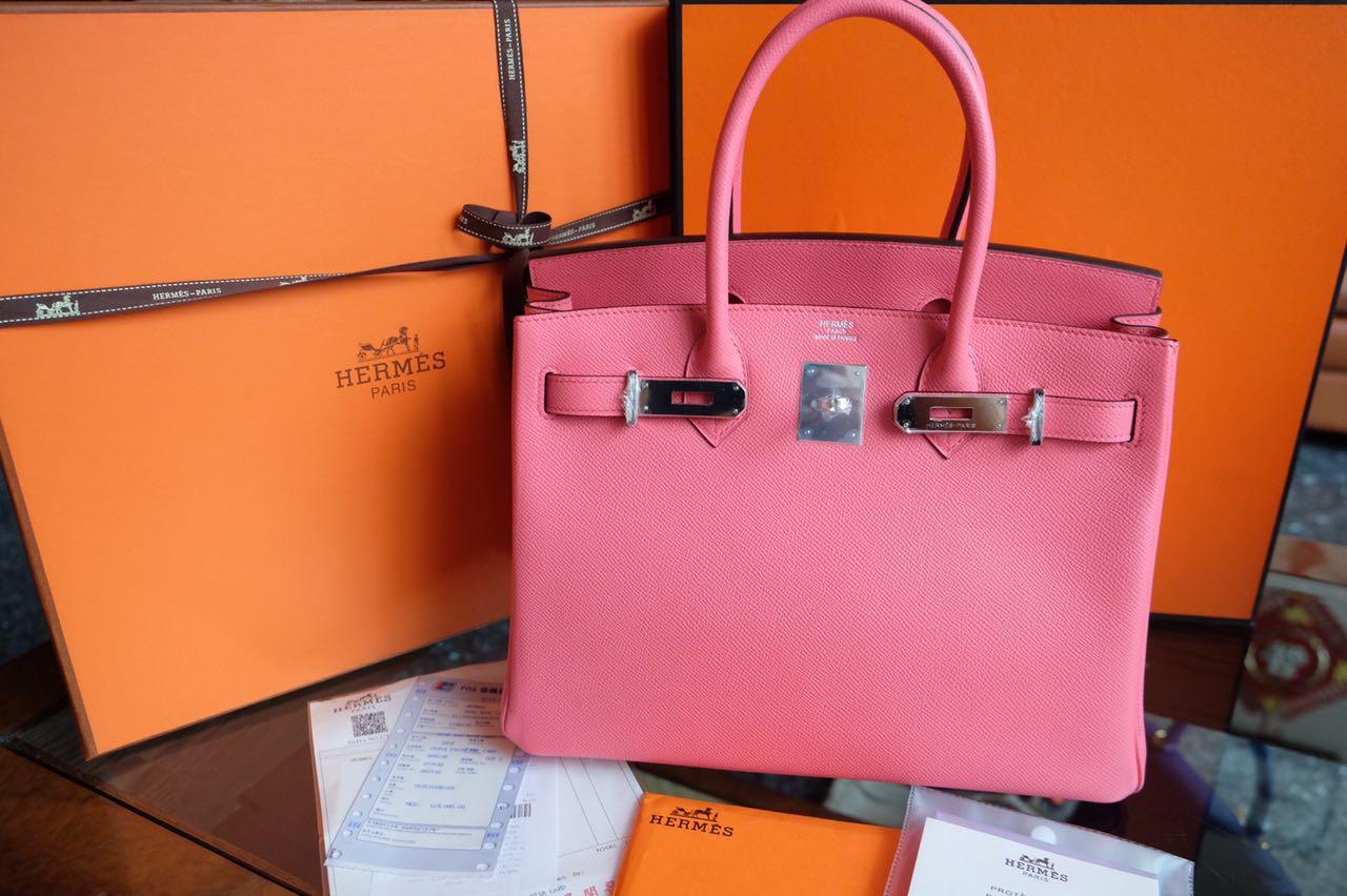 Kinda Kollection  Hermes Birkin B30Cm Epsom Rose Azalea PHW Full  Handstitches Handmade Mirror Original Leather Bag 31fdfcfa82
