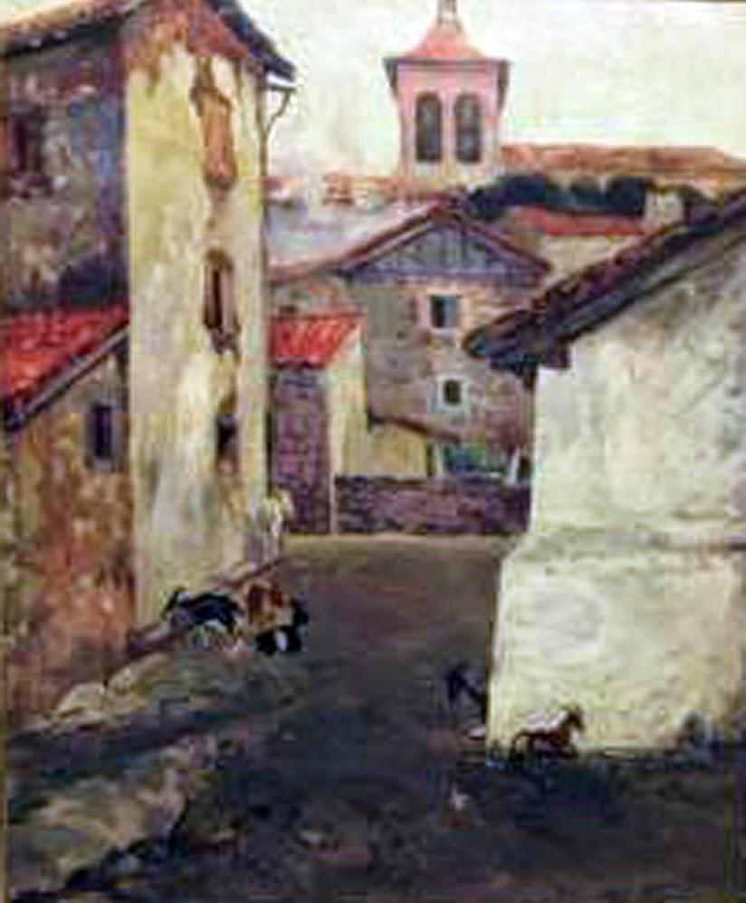 vista de pueblo, Higinio Blat, Paisajistas españoles del siglo XX y XIX, Pintor Valenciano, Higinio Blat Pérez