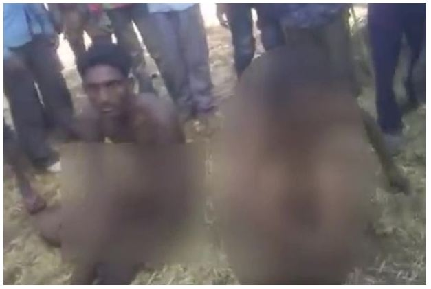 Young Couple $tr!pp£d N.@k£d And Beaten By Villagers For Secretly Marrying (Photos)