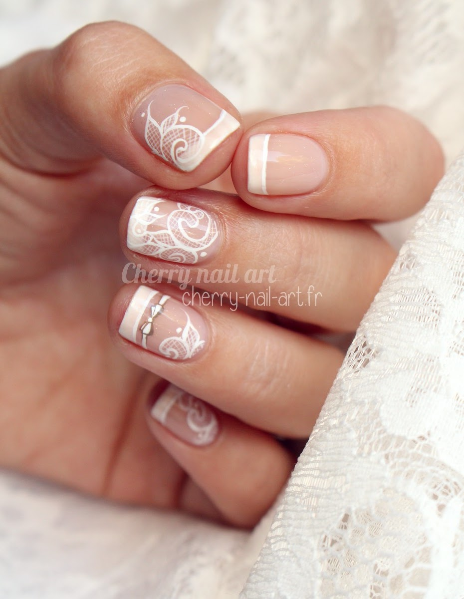 nail-art-mariage-noeud-dentelle-french
