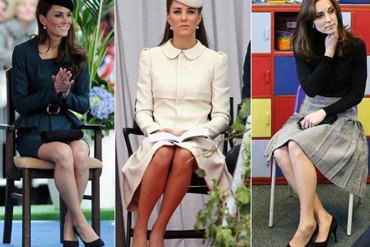 Kate Middleton oturma pozuna gelince bu poz Düşes Eğimi olarak bilinir.