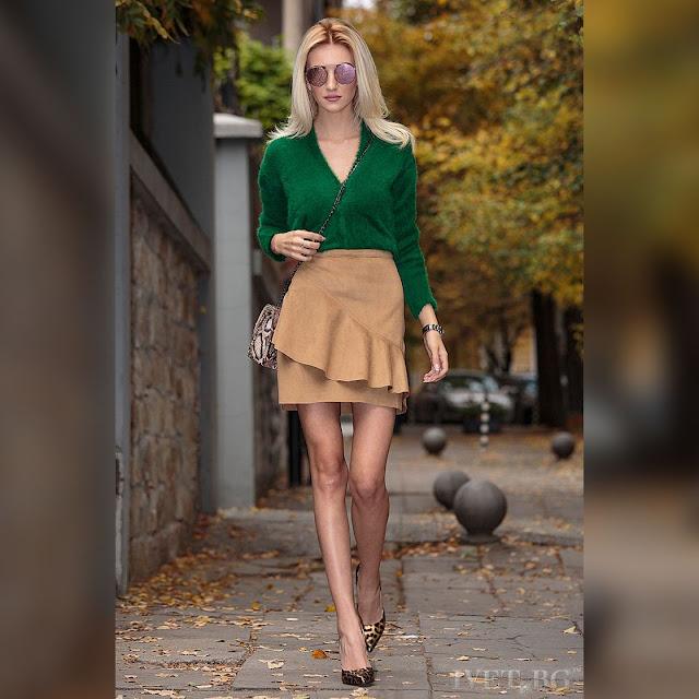 Μακρυμάνικη πράσινη γυναικεία  ζακέτα DELMARA