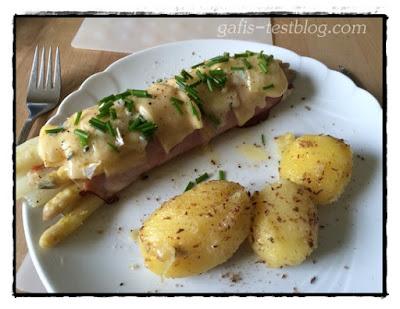 Spargel- Schinkenröllchen mit Kartoffeln