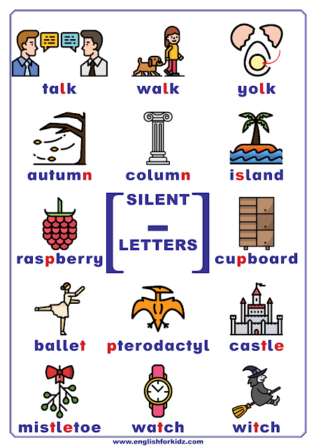 Silent letters in English - chart listing words with silent letters l, n, s, p, t