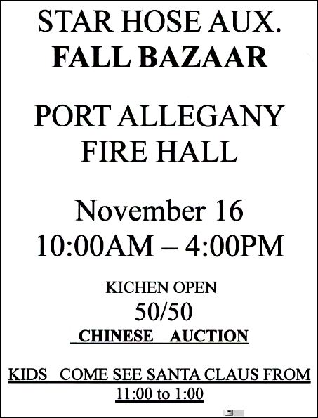 11-16 Fall Bazaar, Star Hose, Port Allegany