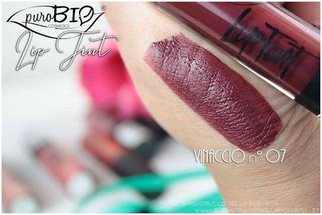 vinaccio 7 Liptint lipgloss purobio cosmetics swatches review makeup naturale