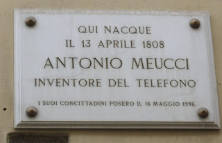 A plaque marks the house in Florence's Via dei Serragli,  where Antonio Meucci was born in 1808
