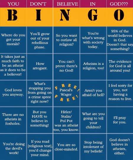 Funny Atheist Don't Believe in God Bingo Game Joke Picture