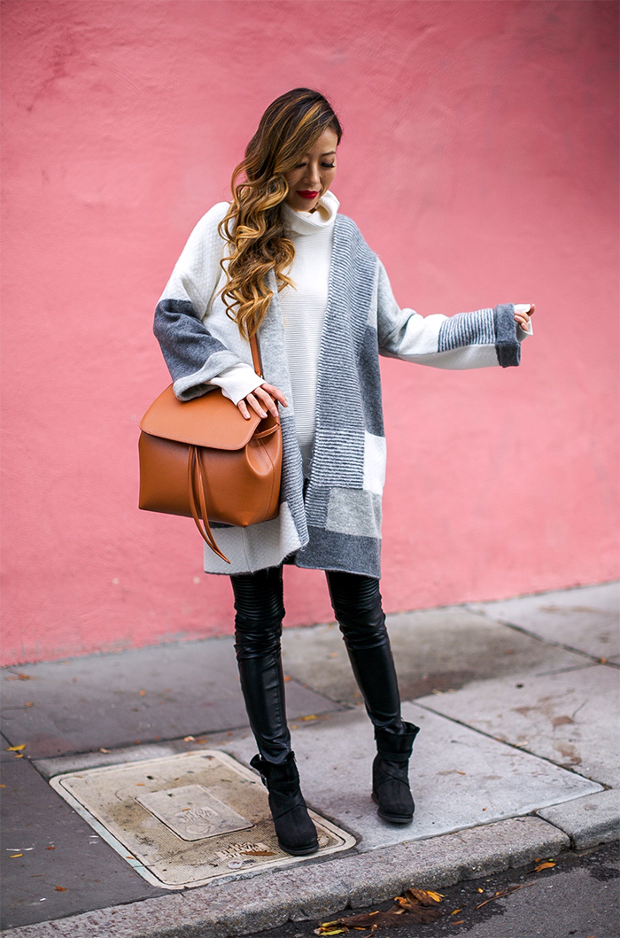 Topshop patchwork cardigan, mansur gavriel lady bag, acne studio sweater, blank denim moto pants, wedge ankle booties, san francisco fashion blog, san francisco street style, holiday outfit ideas