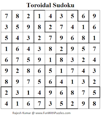 Toroidal Sudoku (Daily Sudoku League #110) Solution