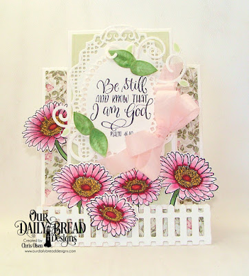 Our Daily Bread Designs, Call to Me Stamp/Die Duo, Romantic Roses, Center Step A2 Card, Center Step A2 Layers, Fence die, Ornate Ovals die, vintage borders die, fancy foliage dies