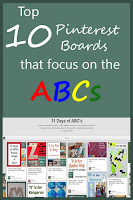 top 10 Pinterest boards that focus on learning the alphabet