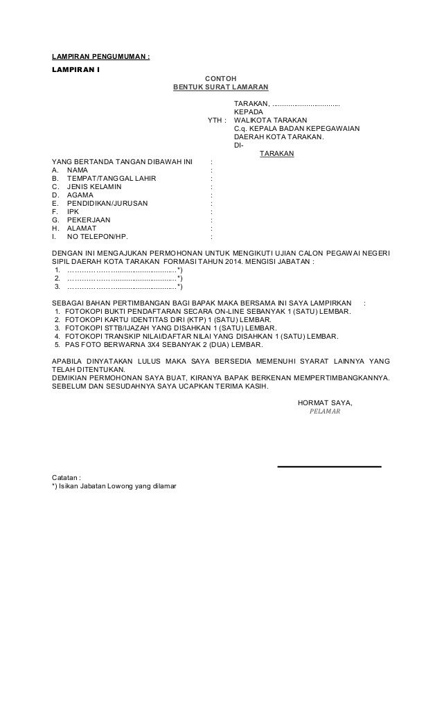 Contoh Surat Lamaran Kerja Dengan Cq