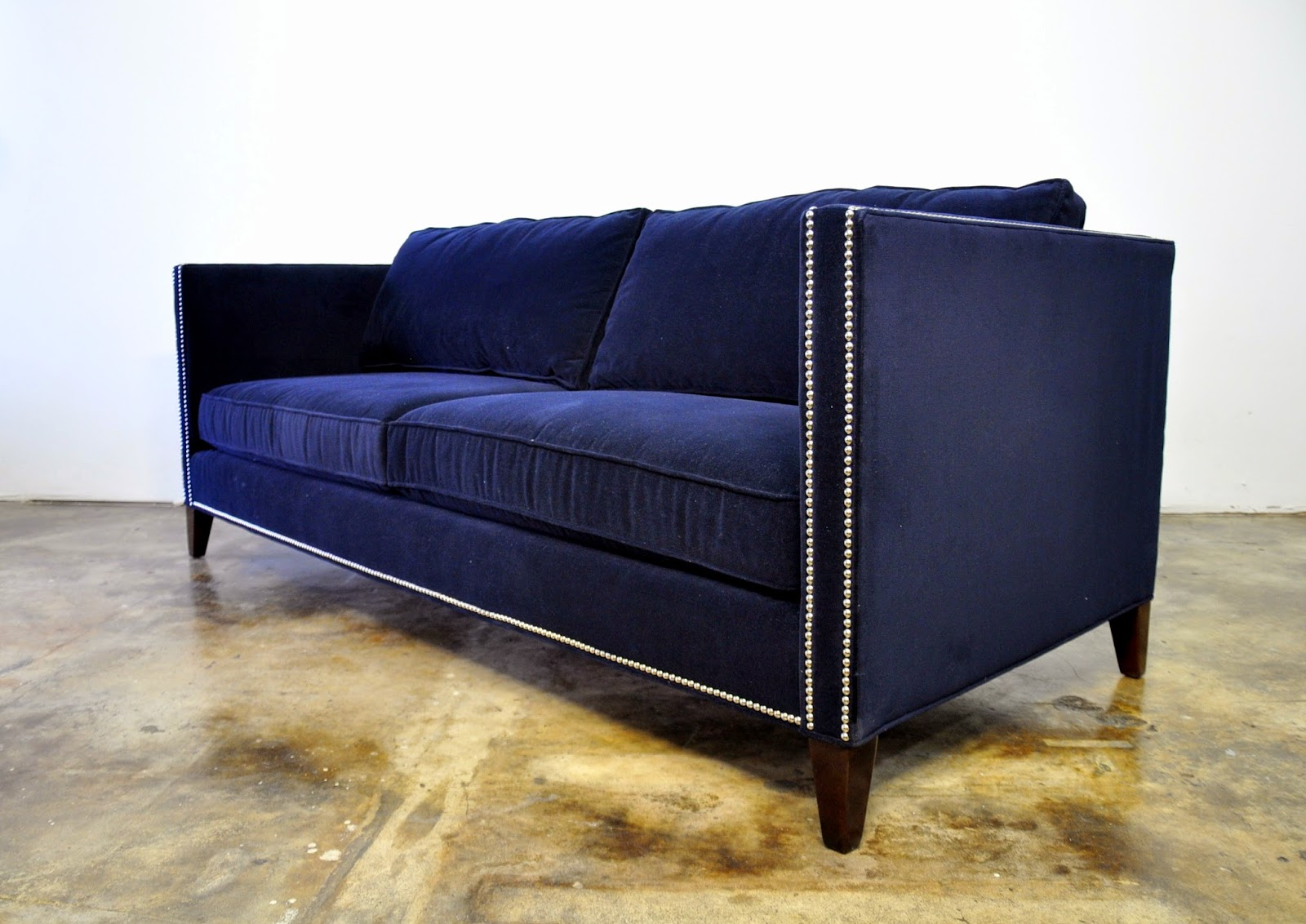 Select modern mitchell gold bob williams sofa for Blue couches for sale