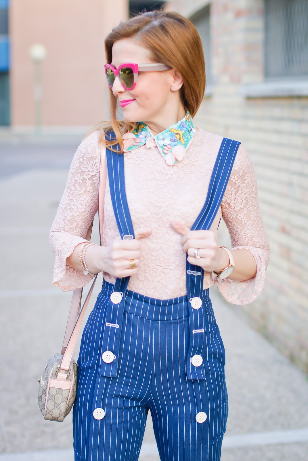 Metisu Pinstripe trousers with braces, lace top on Fashion and Cookies fashion blog, fashion blogger style