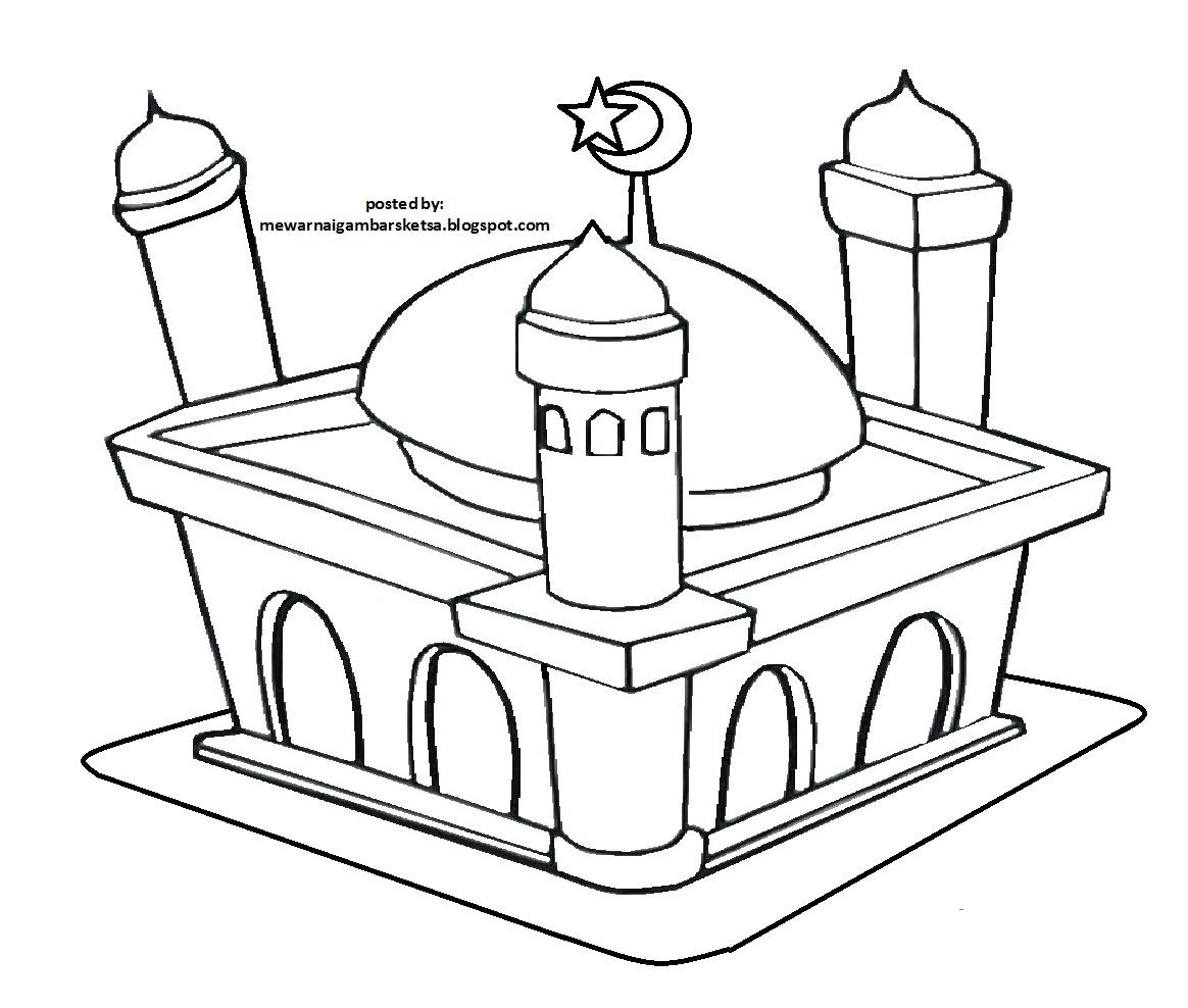 Mewarnai Gambar Sketsa Masjid 13
