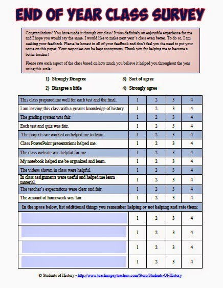 Students of History: Year-End Teacher Evaluation Survey ...