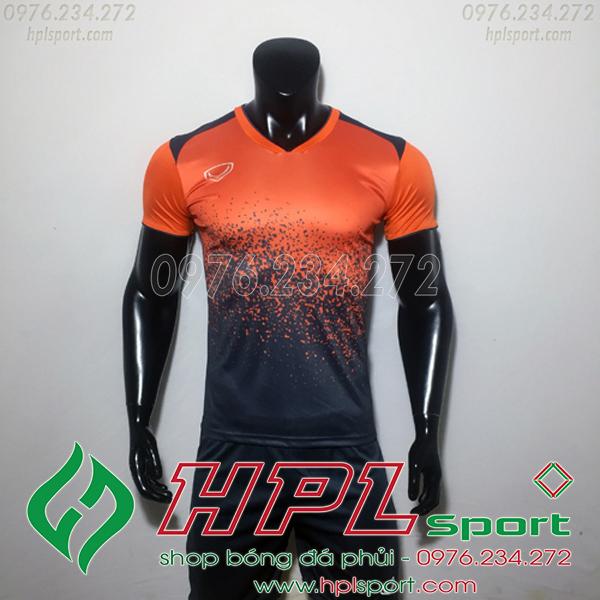 Áo bóng đá ko logo gransport cam đen