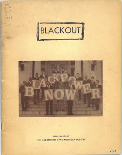 Cover of Balckout magazine showing memebrs of the Afro-American Society holding up signed that spell out BLACK POWER NOW. They are on the steps of a campus building.