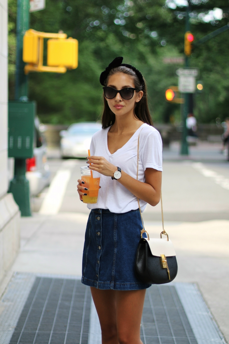 Akerstroms - A Line Denim Button Skirt + Chloe Drew Bag