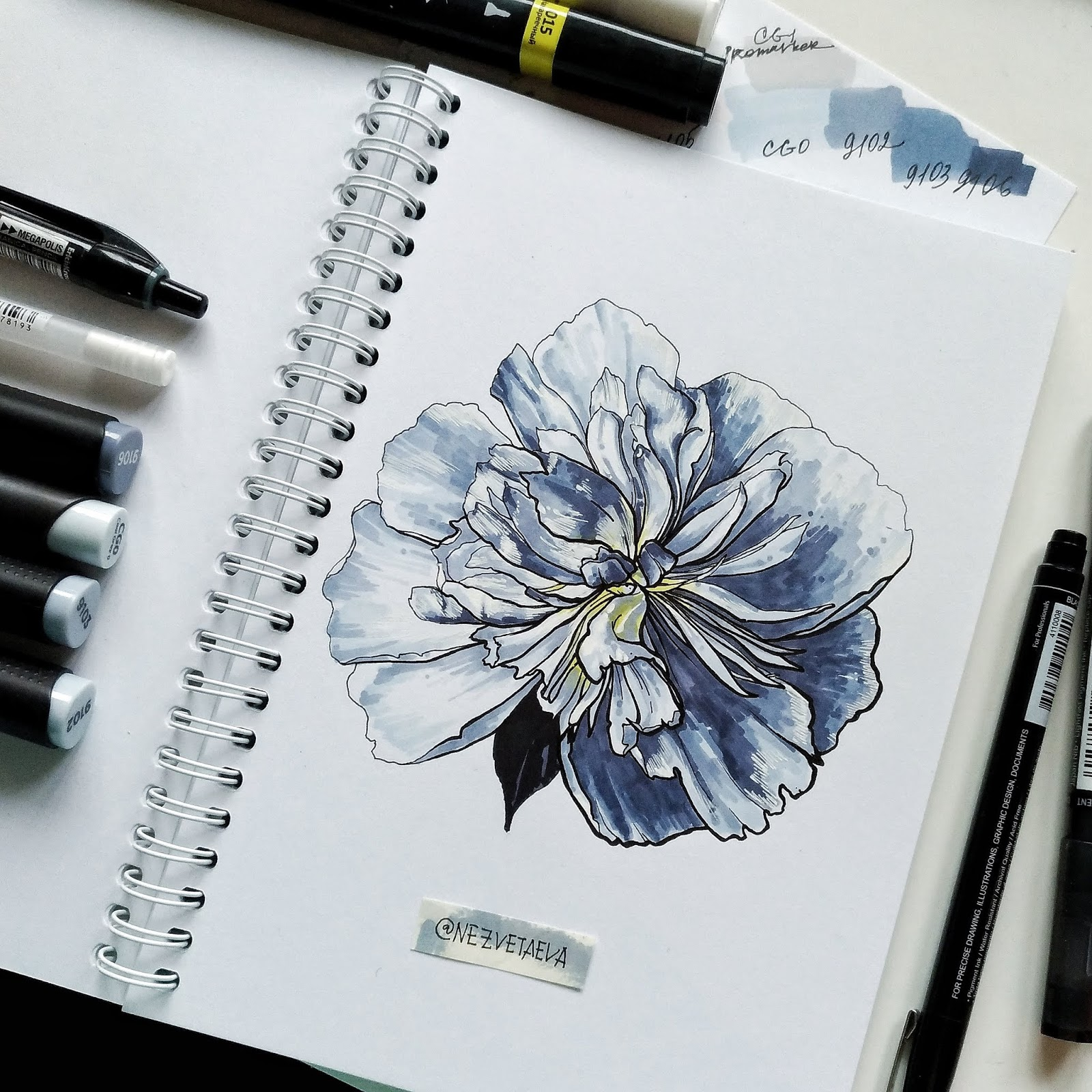 Markers Graphit with swatches and peony sketch  by Sonia Nezvetaeva