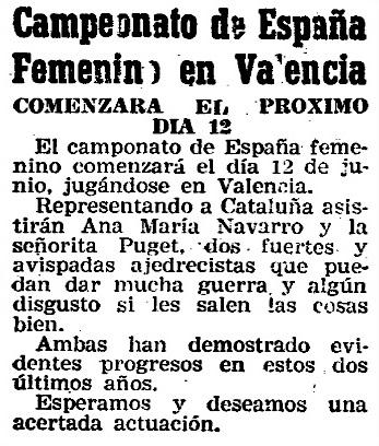 Nota de prensa sobre el IV Campeonato de España de Ajedrez Femenino Valencia 1955