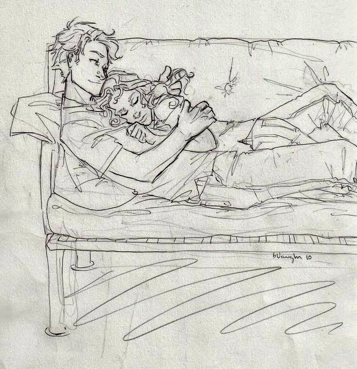 Pencil sketches of couples and friends sleeping zizing part 4