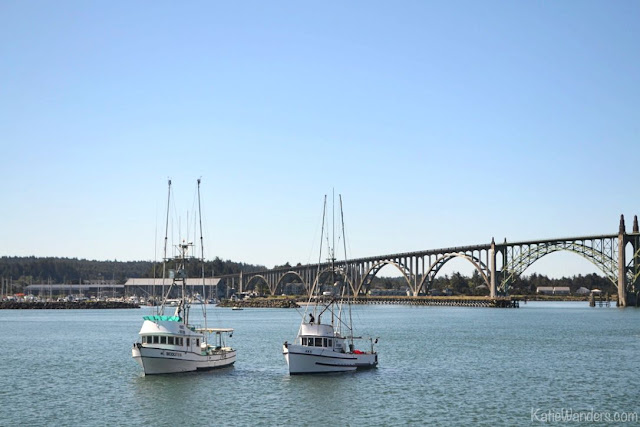 Fishing Boats in front of the Yaquina Bay Bridge